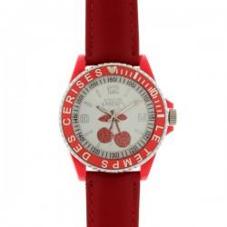 Montre LTC ref TC76, cad blanc-rouge, brac cuir rouge